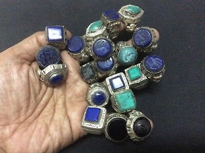 20 pcs antique old onyx agate stone engraved quranl ring silver animal islamic