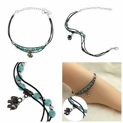 Women Anklet Turquoise Beads Beach Ankle Bracelet Foot Jewelry Barefoot Sandal