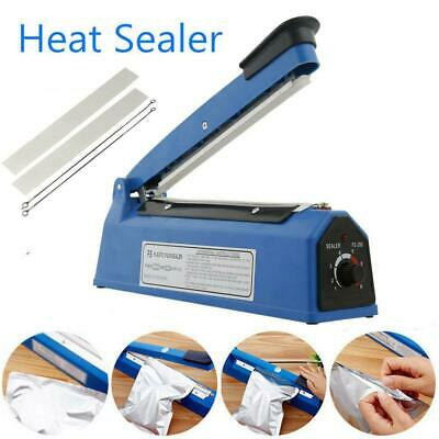"8"" Plastic Impulse Heat Poly Bag Sealer Plastic Closer Machine Teflon Sealing US"