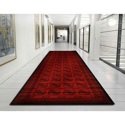Hallway Runner Hall Runner Rug Red Black Traditional 3 Metres FREE DELIVERY