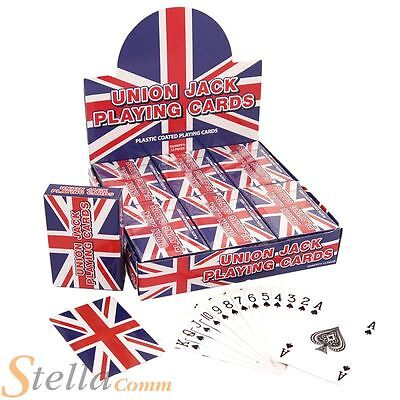 12 X Union Jack Playing Cards Plastic Coated Full Deck Poker Card Games