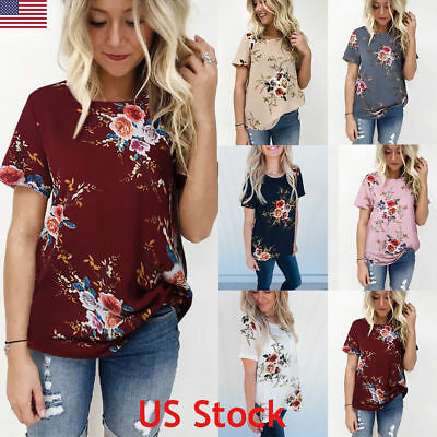 Fashion Women Summer Floral Top Short Sleeve Blouse Casual Tank Tops T-Shirt USA