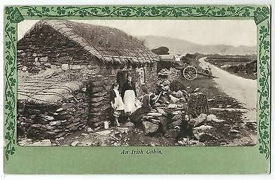 o irish life postcard ireland old cabin