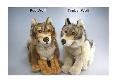 NEW PLUSH CUDDLY CRITTERS RED or TIMBER WOLF SOFT TOY TEDDY