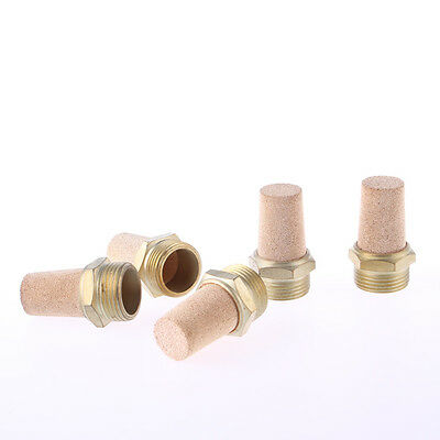 2BSP Thread Brass Pneumatic Air Exhaust Noise Filter Silencer Muffler 5pcs
