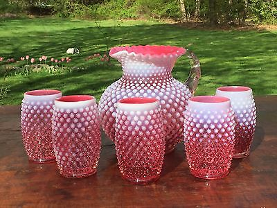 Vintage Antique FENTON Hobnail Opalescent Glass Water Set Pitcher And Glasses