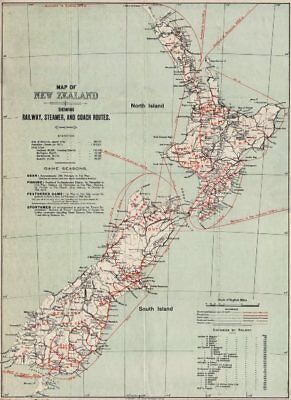 NEW ZEALAND Game deer trout seasons Railway Steamer Coach Routes 1912 old map