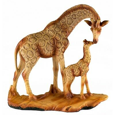Giraffe Mother and Baby Carved Wood Look Figurine Resin 6.75 Inch High NIB