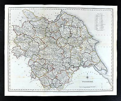 1831 Lewis Map England - Yorkshire  York Sheffield Leeds Richmond Rotherham 53cm