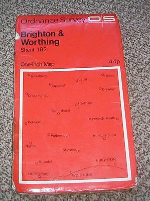 Brighton & Worthing Ordnance Survey One Inch Map Of Great Britain 1970 Sheet 182