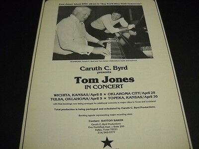 TOM JONES with CARUTH C. BYRD concert dates April 1977 PROMO POSTER AD mint