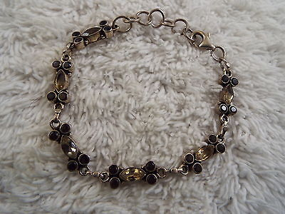 Sterling Silver Black & Pale Yellow Crystal Bracelet (B18)