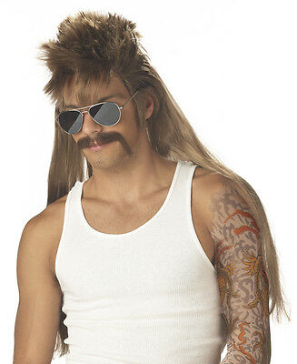 Adult Blonde Disco Hippie Mullet Mississippi Mud Flap Costume Wig + Moustache