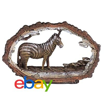 "Zebra Figurine Carved Wood Look Frame 7.25"" Long Highly Detailed Resin NIB"