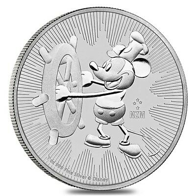 Steamboat Willie 2017 1 oz (31,15 gr) NZM Argento 999 Silver Mickey Mouse Disney