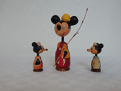 Original Kokeshi Disney Set 3 Fig. MIckey Mouse Japan 50er SELTEN vintage  RARE