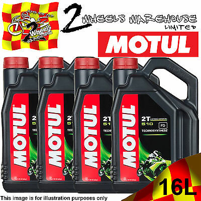 1L 2L 3L 4L 8L 12L 16L Litres Motul 510 2T Stroke Oil Semi Synthetic Anti Smoke