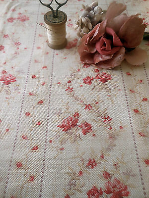Antique French Shabby Roses Garland Cotton Fabric ~ Soft Pink Red Lavender