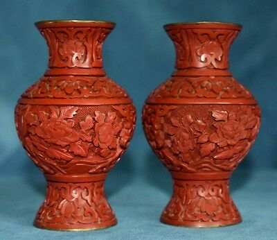 "Vintage Pair Of Chinese Republic Era Carved Red Lacquer Cinnabar 4"" Vases Label"