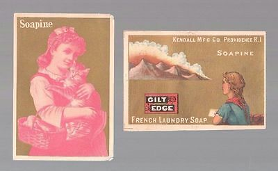 "Lot Of 2 Victorian ""Soapine""  Cat & Girl  Providence RI Trade Cards c:1890's"