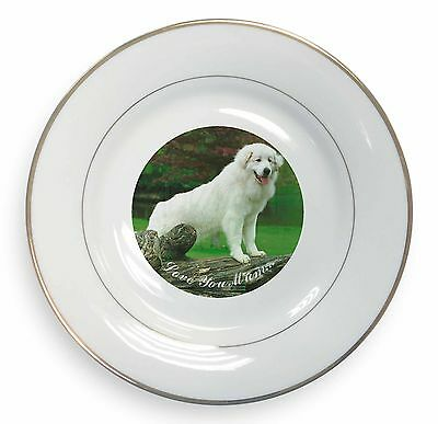 Pyrenean Mountain Dog 'Love You Mum' Gold Rim Plate in Gift Box Chr, AD-PM1lymPL