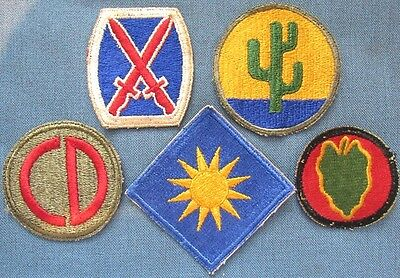 Lot of 5 original WWII period US Army shoulder patches (6)