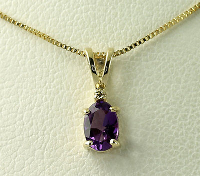 """Natural Diamond Oval Amethyst 14k Yellow Gold Pendant Box Chain Necklace 17.5"""""""