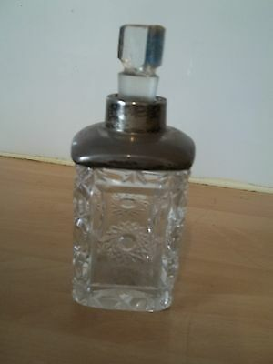 old silver and glass perfume bottle