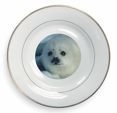 Snow White Sea Lion Gold Rim Plate in Gift Box Christmas Present, AF-S13PL