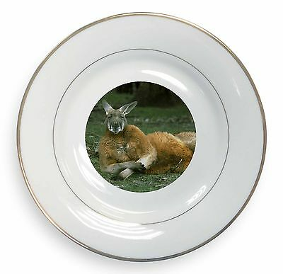 Cheeky Kangaroo Gold Rim Plate in Gift Box Christmas Present, AK-1PL