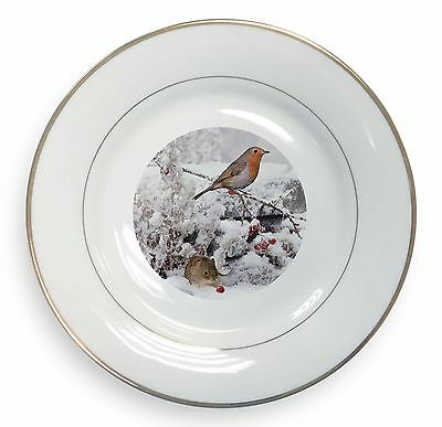 Snow Mouse and Robin Print Gold Rim Plate in Gift Box Christmas Present, AMO-5PL