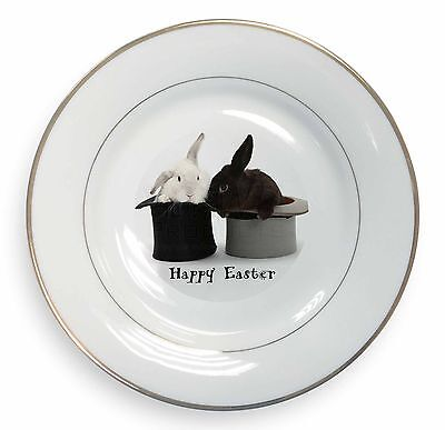 Top Hat Rabbits 'Happy Easter' Gold Rim Plate in Gift Box Christmas Pr, AR-7EAPL