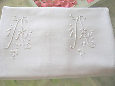 """Lovely Vintage French Pure Linen Sheet Monogram """"A A """""""