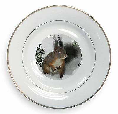 Forest Snow Squirrel Gold Rim Plate in Gift Box Christmas Present, AS-4PL