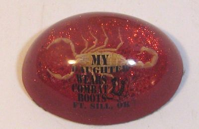 """Vintage Acrylic Paperweight """"My Daughter Wears Combat Boots"""" Fort Sill Oklahoma"""