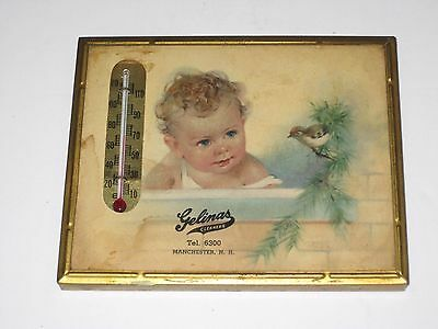 """Advertising """"Gelinas Cleaners"""" Thermometer Manchester NH Baby Bird Framed Print"""