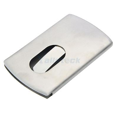 Silver Pocket Stainless Steel & Metal Business Card Holder Case ID Credit Wallet