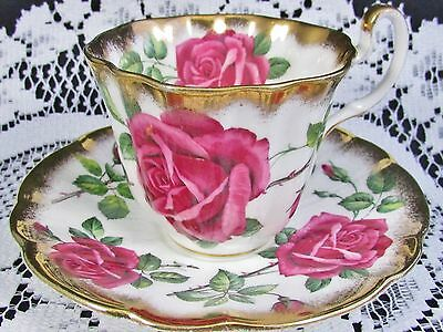 Adderley Pink  Roses Heavy Sponged Gold Gilt Tea Cup And Saucer