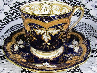 Ridgway 1830's Cobalt Blue Hp Gold Gilt Designs Tea Cup And Saucer B