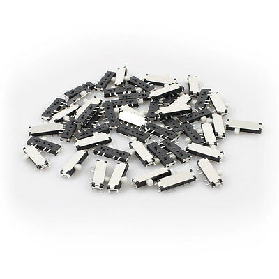 50 Pcs On/Off/On 3 Position 8 Pin 2P2T DPDT Horizontal Mini SMD SMT Slide Switch