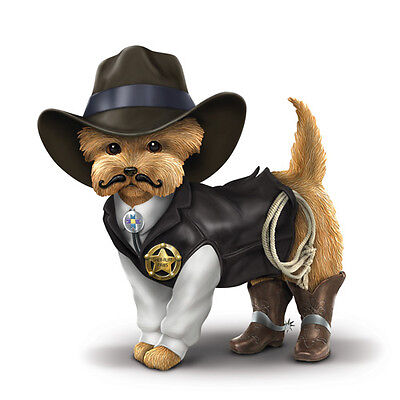 Dog Sheriff S Paws Yorkie Cowboy Figurine Bradford Exchange