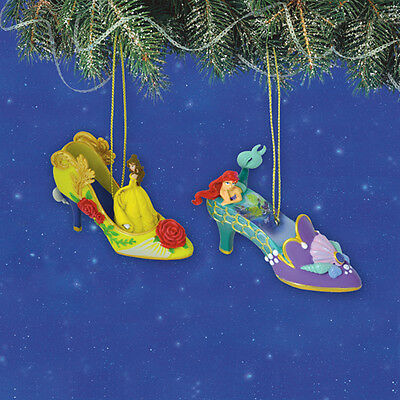 Disney's Once Upon a Slipper Ornaments Belle and Ariel Shoe Figures set #18
