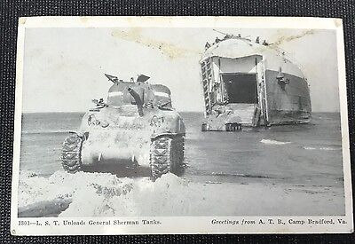 WWII US Navy LST Unloads General Sherman Tanks Postcard