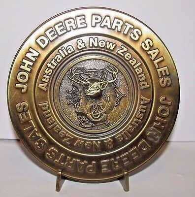 John Deere Parts Sales Australia New Zealand Brass Medallion 1884 Deer Head Logo
