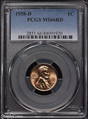 1958-D Lincoln Wheat Penny Cent ~ PCGS MS66 RED ~ STUNNING! #1920