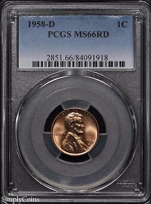 1958-D Lincoln Wheat Penny Cent ~ PCGS MS66 RED ~ STUNNING! #1918