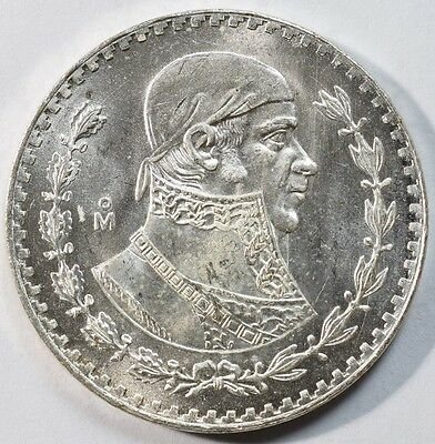1966 Uncirculated Mexico Peso Silver Foreign Coin Free S/H