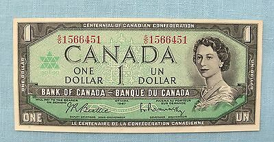 1967  Bank of  Canada uncirculated One Dollar bill or currency