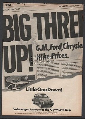 1974 VW Volkswagen Love Bug Limited Edition Beetle Little One Down Car Photo Ad
