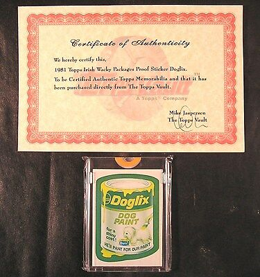 1981 Topps Wacky Packages IRISH TEST SERIES 2-Color Proof Sticker DOGLIX w/COA